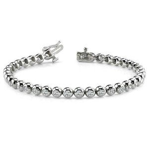 Round Cut Diamond Women Tennis Bracelet White Gold